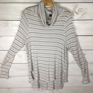 Free People | Blue & White Stripe Cowl Neck Top